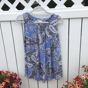 NWT Charter Club Blue White Black Large Blouse